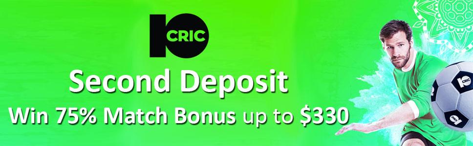 10Cric Casino 75% Up To $330 Second Deposit Bonus