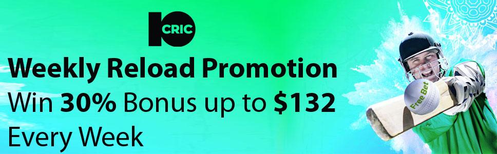 10Cric Casino $132 Weekly Reload Bonus