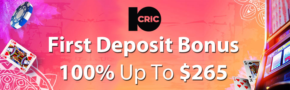 10Cric Casino 100% Up To $265 First Deposit Bonus