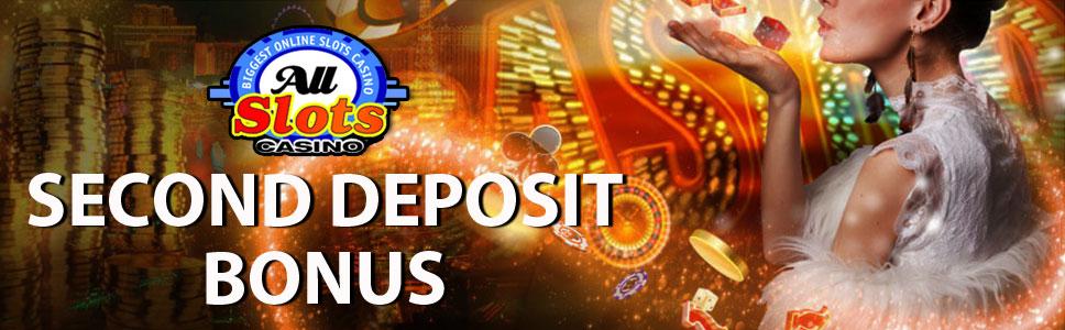 All Slots Casino Second Deposit 100% Match Bonus