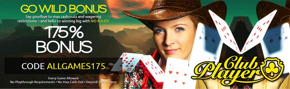 Club Player Casino Go Wild Bonus Get Up To 175 Bonus