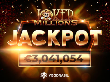 A Casumo Casino player lands a €3M win on Joker Millions Slot by Yggdrasil.