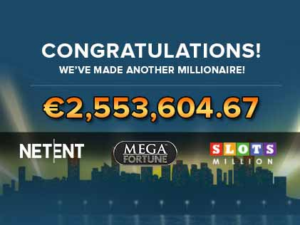 First Member to Join SlotsMillions' Millionaire Club With a €2.5 Million Jackpot on Mega Fortune!