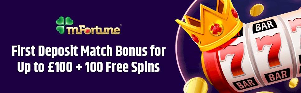 Mfortune Casino 1st Deposit Bonus For 100 100 Free Spins