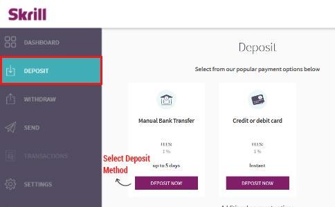 Skrill Deposit Methods