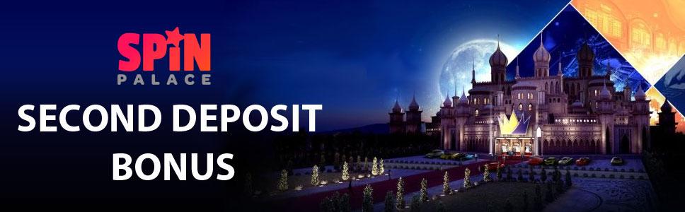 Spin Palace Casino Second Deposit 100% Match Bonus